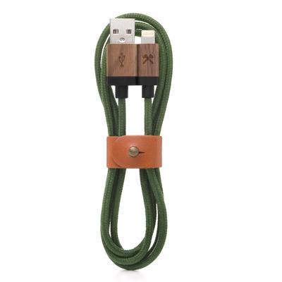 Woodcessories EcoCable Walnuss/Grün Lightning Ladekabel
